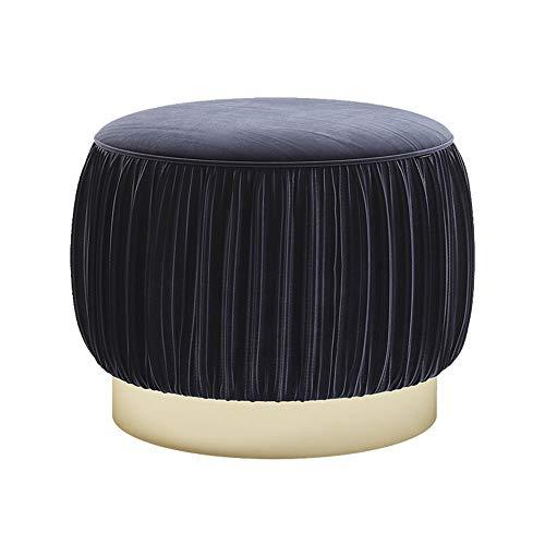 Repose-Pieds Ménage Dressing Tabouret De Style Européen Canapé Tabouret Salon Changement De Chaussure Banc en Daim Hauteur 40 × Diamètre 40 cm GW (Couleur : Royal Blue)
