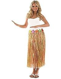 3ca1192960 Ladies Sexy Hawaiian Hula Girl Long Multi Coloured Neutral Grass Skirt Fancy  Dress Costume 24-