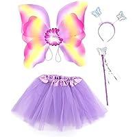 Amosfun Mädchen Fee Prinzessin Kinder Leistung Bühnenkostüm Set Glitter Doppelschicht Schmetterling Wing Wand Stirnband Kleid