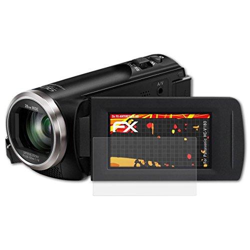Panasonic HC-V180 Displayschutzfolie - 3 x atFoliX FX-Antireflex-HD hochauflösende entspiegelnde Schutzfolie Folie