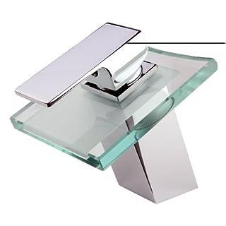 Steinkirch™ Waschtisch Wasserfall Armatur - German Quality - Bad Einhandmischer Glas Wasserhahn
