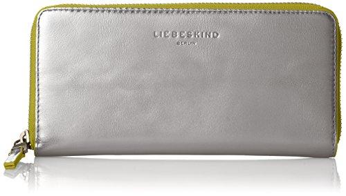 Liebeskind Berlin Damen Gigif8 Cobloc Geldbörse, Silber (Silver W. Lime), 3x10x21 cm