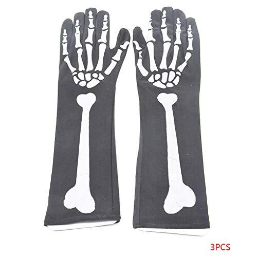 Bomcomi Halloween-Schädel-Handschuhe drucken Knochen Cosplay Party Supplies Leistung Horror Spiel Kostüme 3 Paare (Horror Kostüm Für Paare)