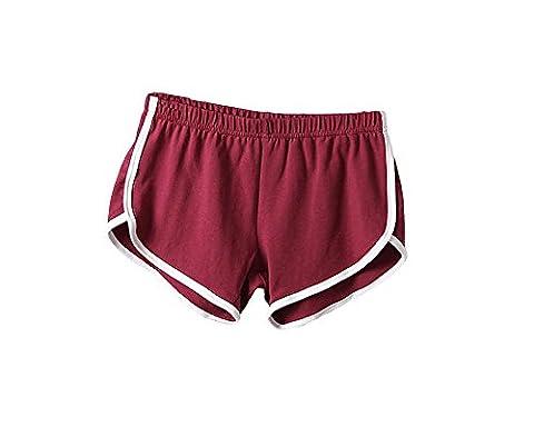 ILOVEDIY Mini Shorts Short de Volleyball en Coton pour les Filles et Femmes d'été Rouge