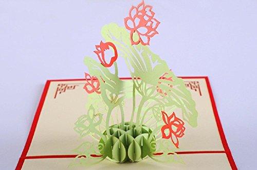 BC Worldwide Ltd Handgemachte 3D pop-up Pop-up chinesischen Lotus Blume See Garten Bauernhaus Geburtstag Valentinstag Muttertag Vatertag Ostern Engagement Hochzeitstag Party Einladung Geschenk Erntedankfest Tag Abschluss neue Baby-Geburt Weihnachten Xmas-Karte ()
