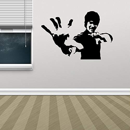Bruce Lee schnitzte Wandaufkleber Fernsehhintergrund-Wandaufkleber Schwarz 57x38cm