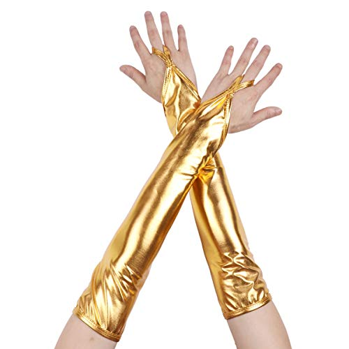 Freebily Glänzend Fingerlose Handschuhe Metallic/Fischschuppen gedruckt Armstulpen Gogo Dessous Kostüm Zubehör Nachtclub Dancewear Clubwear Gold One Size