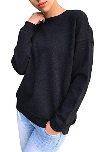 Freestyle Rotondo Collo Moda Bendare Tops Sportiva Sweater Felpa Donna Camicetta Sweatshirt Elegante Pullover Manica Lunga Sweatshirt Nero