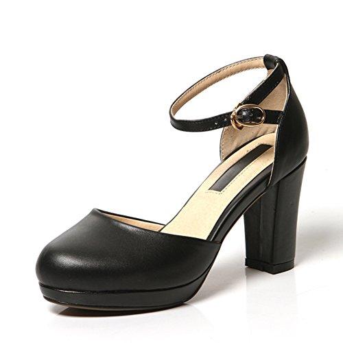 Lederne schneidende schuhe/Runde kopfschnalle high heels/Grob mit dickschmelzenden schuhen B