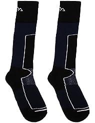 Gazechimp 1 Par de Calcetines Largos de Esquí de Hombres Calecetines para Deportes de Invierno al Aire Libre Snowboard Escalada Gris/Azul Oscuro