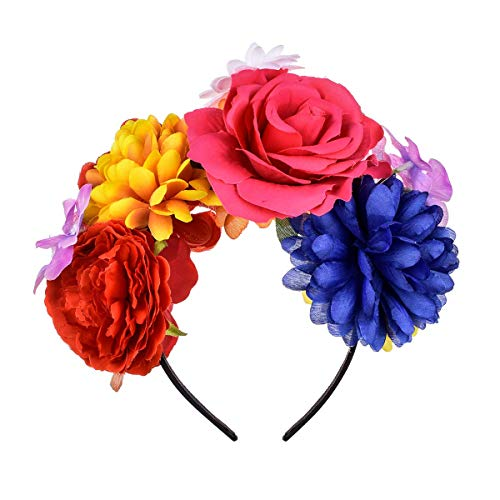 Stirnband Blume Kostüm - DreamLily Damen Frida Kahlo Mexican Rose Blumen-Kronen-Stirnband Halloween-Partei-kostüm kopfstück nc26 Medium Colorful