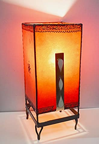 Modern Moroccan Plain Henna Table Lamp With Bone insert- Square 38x17cm- Orange - FINAL SUMMER