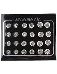 NF&E Pack Of 12 Pairs Round Crystal Magnetic Stud Earrings For Men Women Girl 4MM,6MM,7MM