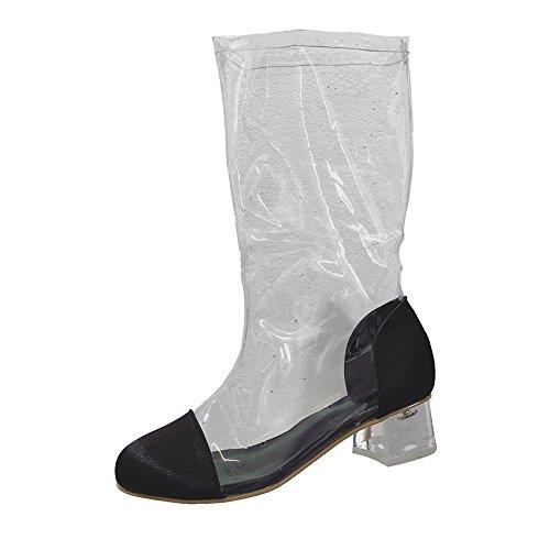 Transparent Schuhe Damen,Elecenty Frauen Stiefel Kurzschaft Runder Zeh Trichterabsatz Stiefeletten Plateauschuhe Boots