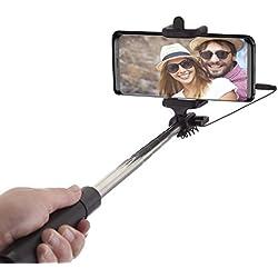 Power Theory Perche Selfie Stick avec Câblé [Sans Batterie, sans Bluetooth] Selfiestick pour iPhone XS Max/XR/X/X/8/7/6S/SE, Samsung Galaxy S10/S9/S8/S7/S7 et tous les Smartphones Selfi Monopod [Noir]