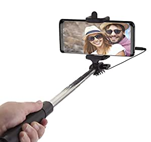Power Theory Selfie Stick - Batterieloser Selfiestick ohne Bluetooth für iPhone XS Max X 8 7 Plus 6s 6 SE 5S 5 Samsung Galaxy Android S9 S8 S7 Edge S6 Note Smartphone - Stab mit AUX Kabel (Schwarz)