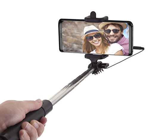 Power Theory Selfie Stick - Batterieloser Selfiestick ohne Bluetooth für iPhone XS Max X 8 7 Plus 6s 6 SE 5S 5 Samsung Galaxy Android S9 S8 S7 Edge S6 Note Smartphone - Stab mit AUX Kabel (Schwarz)