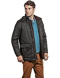 VEDONEIRE Mens Padded Wax Jacket (3053 BLACK) waxed winter coat irish designer