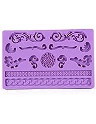 Auket Fleurs en relief silicone gâteau de fondant Cookie Cutter bord Décoration frontière # 115 (3DMold-115)