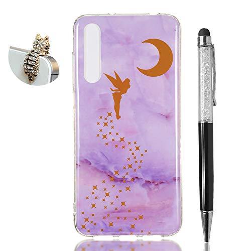Hirkase Huawei P20 PRO Cover,Antiurto Ultra Sottile Anti-Graffio Cassa del Telefono per della Copertura + Penna Stilo + Tappo Antipolvere(Elfo Marmo Viola)