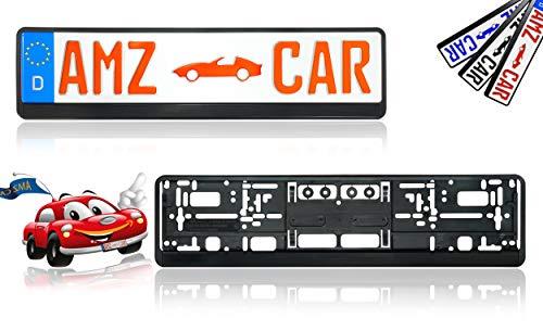MODELL 2019 - Neuste Kennzeichenhalter Auto | 2 Stück - Nummernschildhalter schwarz der 4 Generation | Vibrationsschutz | Made in Germany | AMZ CAR | Mit Schrauben