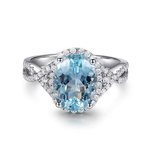 AmDxD 925 Silber Damen Ringe Oval Silberring Eheringe Damenringe mit Blau Topas Gr.54 (17.2) -