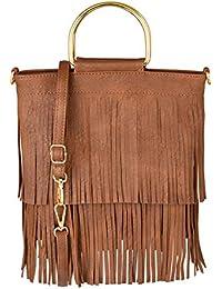 e5016be608ac5 CHIC DIARY Damen Schultertasche Fransen Quaster Umhängetasche aus PU Leder  Tasche Handtasche Shopper Beuteltasche