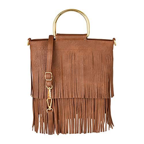 CHIC DIARY Damen Schultertasche Fransen Quaster Umhängetasche aus PU Leder Tasche Handtasche Shopper Beuteltasche (Braun) -