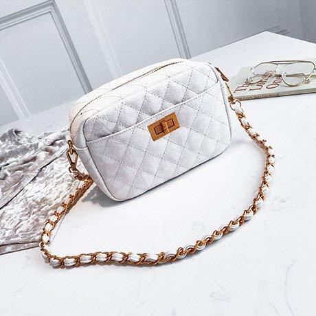 JKHGJUH Die Mädchen Pack Argyle Chain Pack einzigen Umhängetasche Zipper Bag mit einem kleinen quadratischen Paket Dokumententasche, Handytasche (Farbe : White) - Argyle Messenger