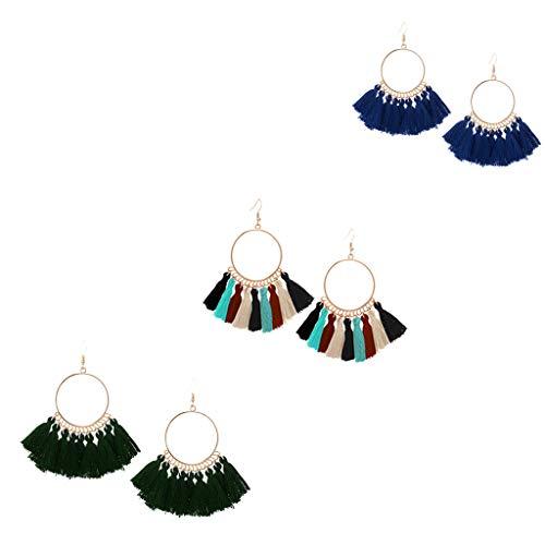 Longzjhd 3 Paare Ohrringe verziert Ohrringe Bohemian Vintage Ohrringe lang Hängend Antik Ornament Rund Quaste Anhänger Geometrisch Ohrringe Damen Geschenk Schmuck (Kostüme 20s, Paare)