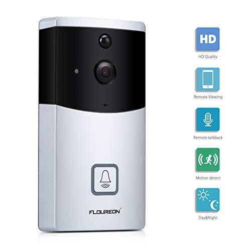 FLOUREON Sonnette vidéo sans Fil HD 720P, Système Audio bidirectionnel Conversation vidéo en Temps réel Vision Nocturne Sonnerie de détection de Mouvement PIR