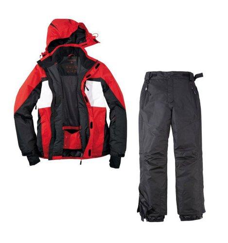 Skianzug 2tlg. Funktioneller Skianzug Für Herren Gr. 50 Farbe. Rot-Weiß-Schwarz M-3 Schneeanzug Thinsulate Skijacke