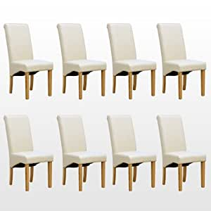 8 x cambridge en cuir cr me chaise de salle manger w for Chaises salle manger cuir dossier haut