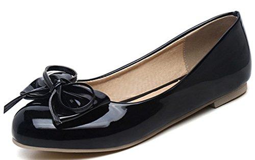 Easemax Damen Süß Schleife Patent Flach Geschlossen Ballerinas Schuhe Schwarz 37 EU (Schwarz Patent Ballerina Leder)