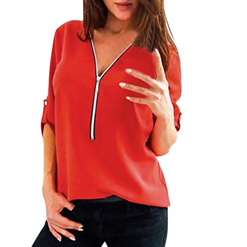 Damen Elegante Frühling Solide Reißverschluss Oberteile Slim Hemd Bluse Casual Tops DOLDOA T-Shirt Mode Blusen Pullover Sweatshirt Geburtstags Geschenk für Frauen Mädchen Freundin (EU:38, Rot - 1)