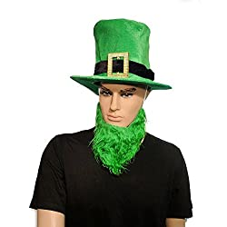 St Patricks Day Irish Leprechaun Top Hat With Green Beard Fancy Dress Accessory