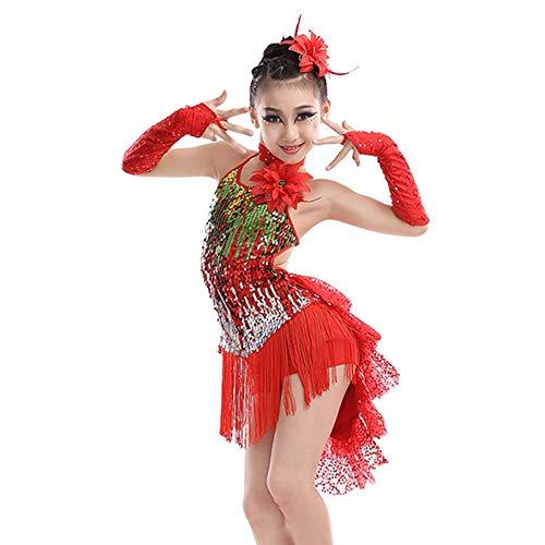 Lyrischen Kostüm Dance Modern - GOWE Pretty Süße Mädchen Pailletten Fransen Rückenfreie Latin Dance Kleid - Lyrische Moderne Zeitgenössische Gymnastik Tanz Kinder Dancewear Kostüme Prom Kleider für Mädchen, Rot/120