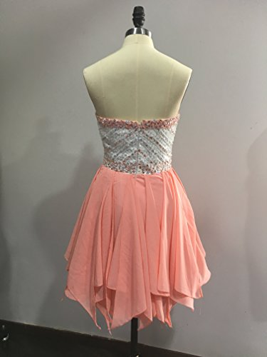 Bridal_Mall Women's Sweetheart Beaded Short Homecoming Dance Party Dresses LightOrange