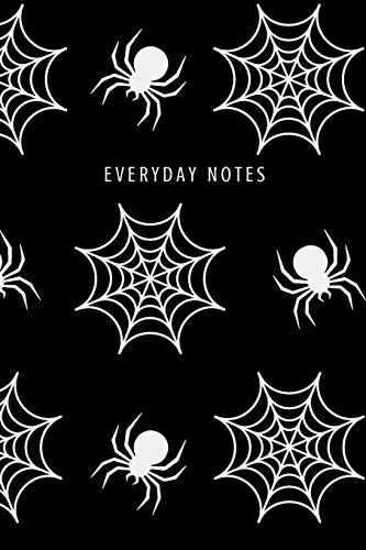 Everyday Notes: Lined Journal/Diary Fun Cool Black and White Halloween with Spiderwebs and Spiders