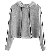 Styledress Sweatshirt Damen,Damen Langarmshirt Gestreiftes Hoodie Sweatshirt  Sweatjacke Langarm Pullover Hosenanzug T-Shirt 56a1f9b9ba