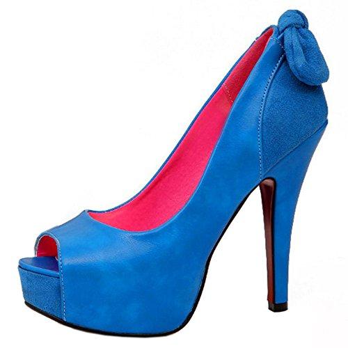 Peep High Elegant Damen Taoffen Plateau Heel Blau Schlupfschuhe toe Pumps Party Sandalen t8Ttq