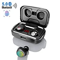 【Latest Model】 Bluetooth 5.0 Earbuds, Wireless Headphones with Mic HIFI Stereo LED Display Noise Canceling CVC8.0 126 Hours Playtime 3000mAh Charging Box, TWS Bluetooth Earphones for Smartphones