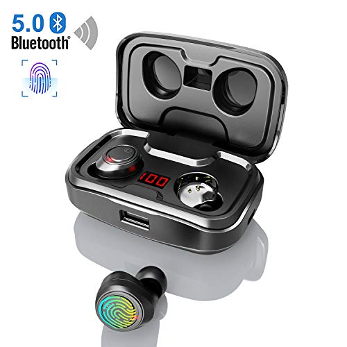 Bluetooth Kopfhörer Kabellos, In Ear Ohrhörer mit 3000mAh Ladebox CVC 8.0 Noise Canceling Touch Control LED Anzeige Wireless Sport Kopfhörer Built-in Mic 105 Std Spielzeit Bluetooth 5.0 Headset