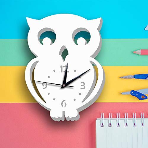 DIY große wanduhr 3D Aufkleber Home Office Dekoration geschenkWhite Owl White 10 Zoll ()