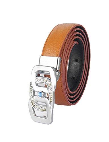 Cintura da donna in pelle geniune cristalli di alta qualità di lusso diamante Designer Cinture Brown 115cm