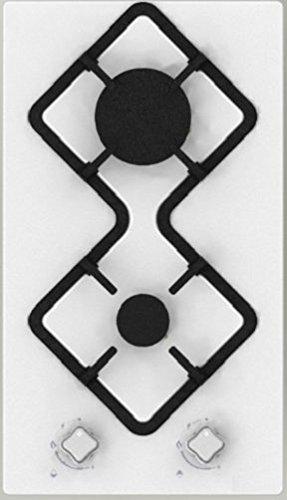 Hudson Table Plaque de Cuisson 2 feux Gaz - HDG 2 B - à encastrer - Design - En émail Blanc - Très haute résistance (510 x 290 x 4 mm),