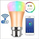 E27&B22 LED Intelligent Glühbirne, dimmbar, bis zu 16 Millionen Farben, steuerbar via App, kompatibel mit Amazon Alexa/Google Home,GoldB22