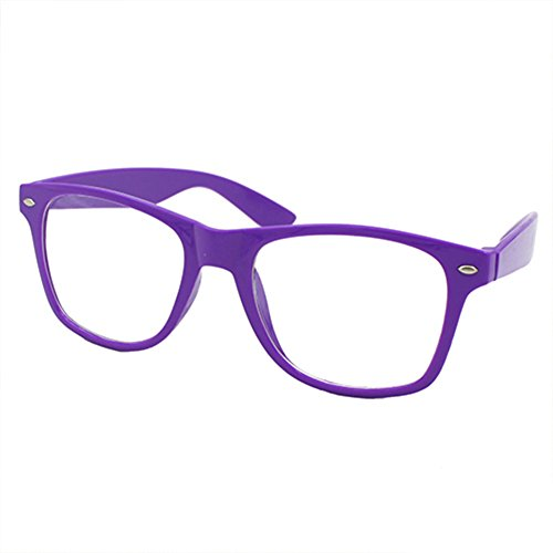 Nerd Brille Klarglas Geek Glasses Herren + Damen 80er Jahre Geek Fashion Brille (Lila)