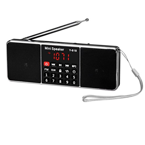 Amlaiworld groß LCD Bildschirm Tragbare FM-Radio-Lautsprecher Glänzende Digital Sport Musik player lässig Casual MP3-Player Stilvoll USB Coole Audio Lautsprecher Urlaub Elektronisch geräte für TF Kartenslot Unterstützung FM radio funktion (Schwarz)