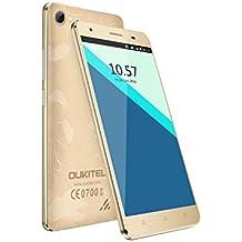 OUKITEL C5 Pro - Smartphone Libre 4G de 5.0''HD (FDD-LTE, Android 6.0, 5.0MP+2.0MP cámaras, 16GB ROM+ 2GB RAM, MTK6737 quad-core 1.3GHZ), oro